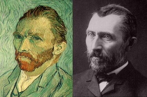 El pintor holandés en uno de sus autoretratos, a la izquierda.