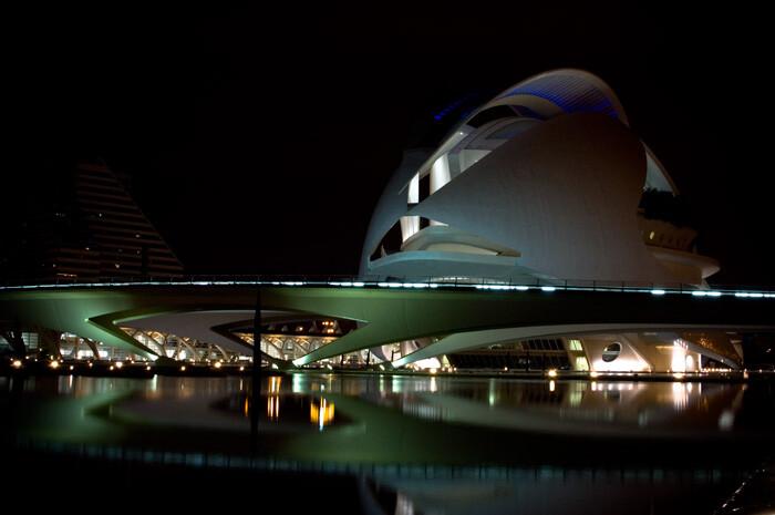 Imagen nocturna del Palau de les Arts. Foto: David Huerga