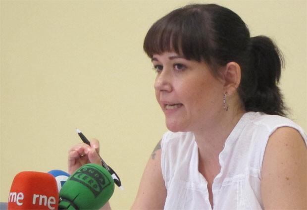 La concejala de EU, Rosa Albert, en el Ayuntamiento de Valencia.