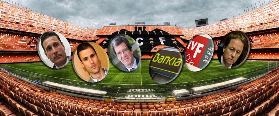 Valencia CF, Fundación, Bankia, Generalitat e IVF, las chapas de este particular 'Subbuteo'. Fotomontaje: Javier Furió