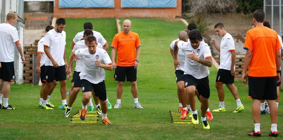 Último entrenamiento del Valencia CF antes del partido contra St. Gallen. Foto: Valencia CF