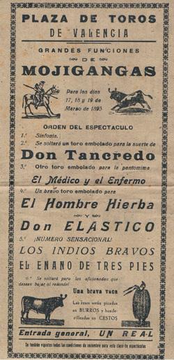 Cartel de Mojigangas en 1893. A. P. R. S.