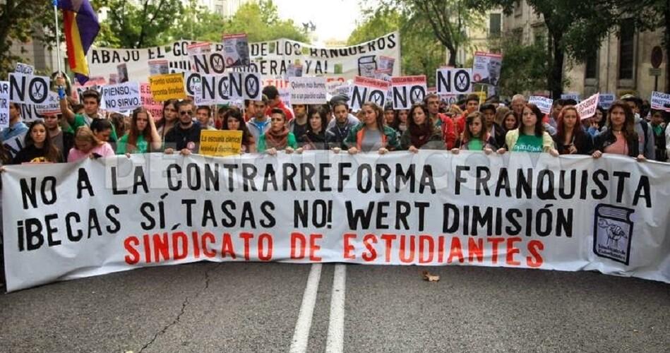 Manifestación estudiantil de protesta de anteriores convocatorias. Foto de archivo