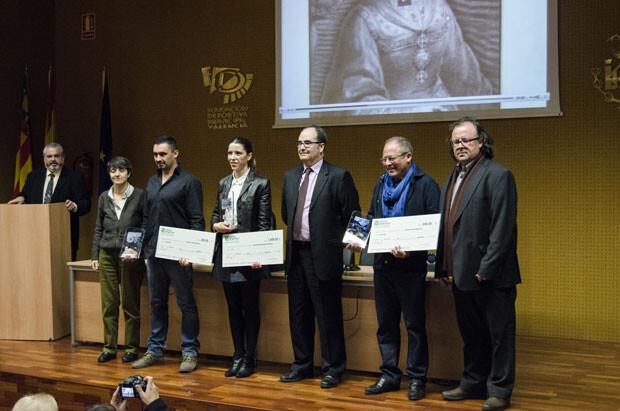 Los premiados junto a María Ángeles Vidal, Paco Cuevas y José Antonio Garzón.