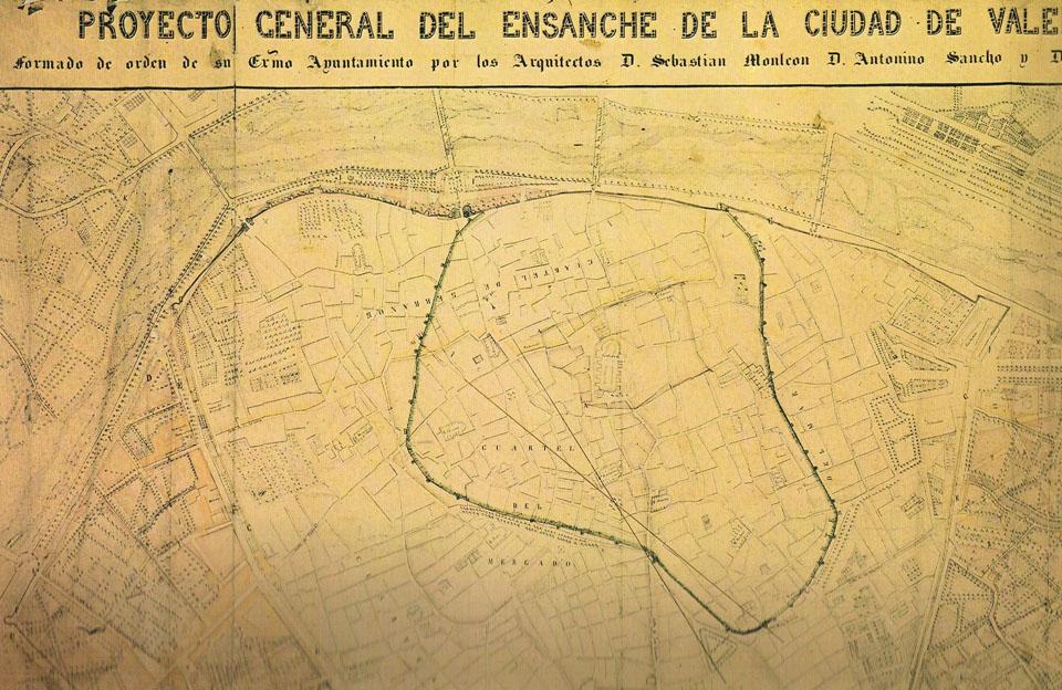 Plano del proyecto del ensanche de 1858. A. P. R. S.