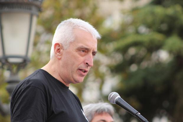 Salvador Gimeno, secretario general de SIPOL - CV, durante su intervención en el acto. Foto: Javier Furió