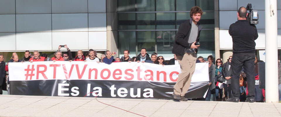 Los trabajadores de RTVV, la lucha sigue. Foto: Manuel Furió