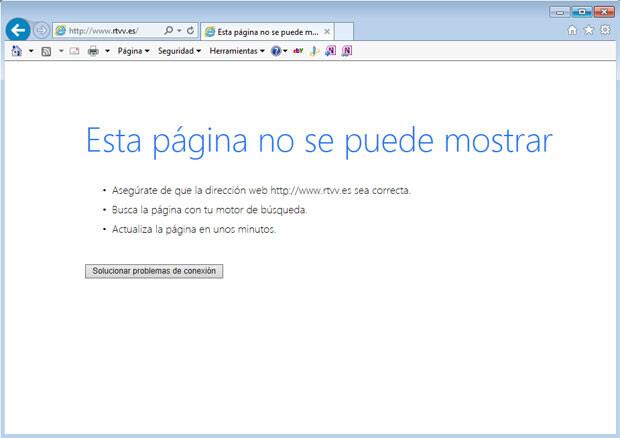 Missatge que ix al Internet Explorer al teclejar www.rtvv.es