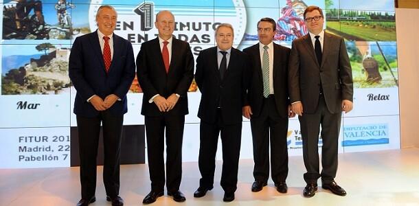 El presidente de Renfe, el conseller de Turismo, presidente Rus, el diputado de Turismo y el presidente de los hoteleros