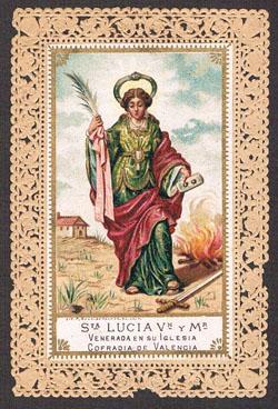 Santa Lucía. Estampa valenciana de 1910. Sant Roc. Estampa valenciana de 1960. A. P. R. S.
