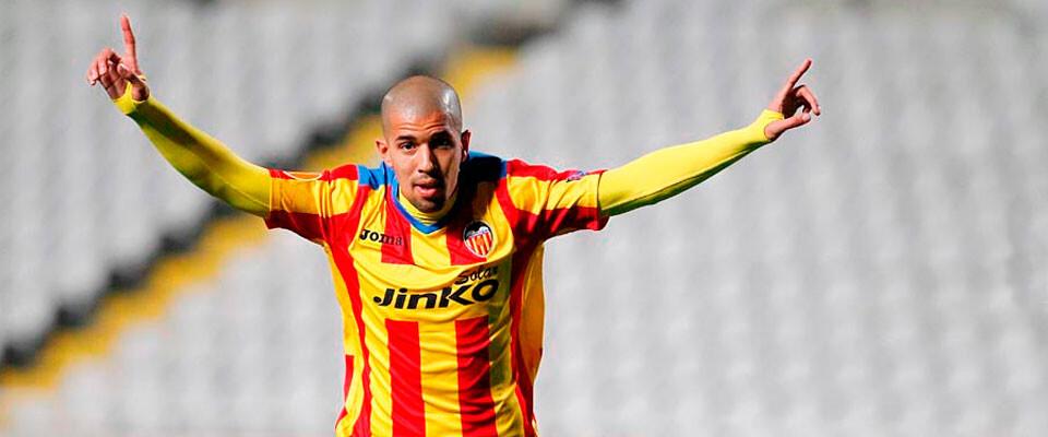 Feghouli marcó el segundo gol valencianista en el minuto de descuento. Foto: VCF