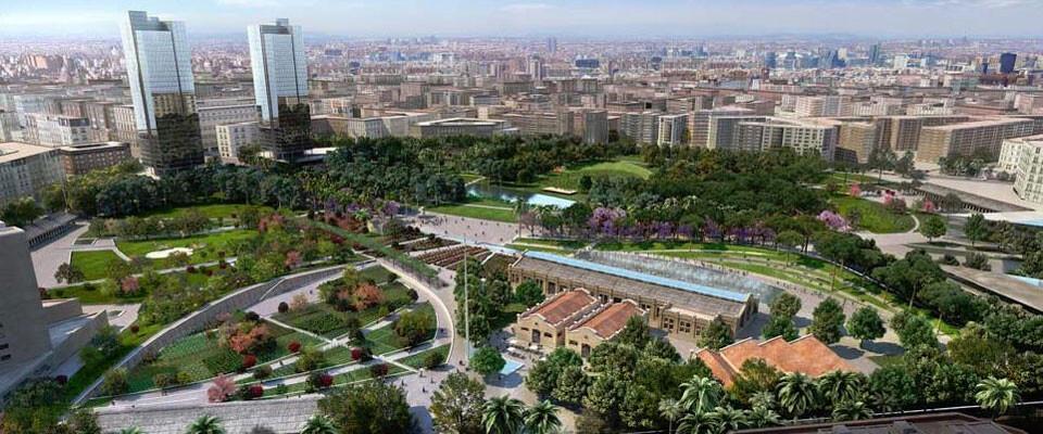 Figuración virtual de cómo quedará finalmente el Parque Central, tras la finalización de las obras cuya adjudicación ha quedado ahora paralizada.