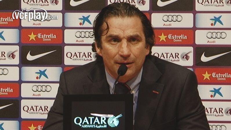 Juan Antonio Pizzi, en la rueda de prensa posterior al partido. Parece que ha encontrado la famosa tecla. Foto: VCF