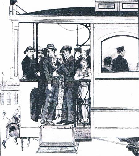 Carterista en el tranvía. Dibujo. Años 30. A. P. R. S.