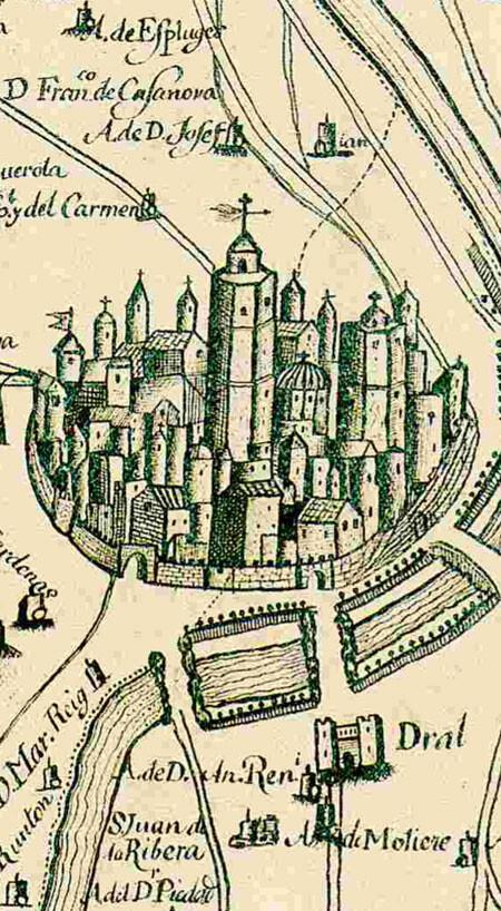 Detalle del plano 'Huerta y contribución de la ciudad de Valencia' (1695)