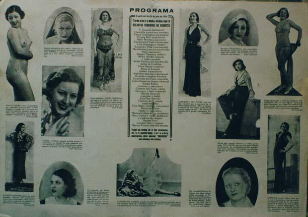 Programa de cabaret en Valencia. Años 30. A. P. R. S.