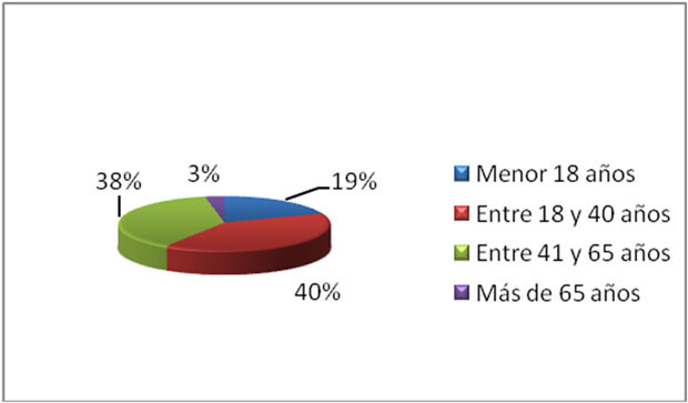 Perfil de los usuarios según edad. Año 2013