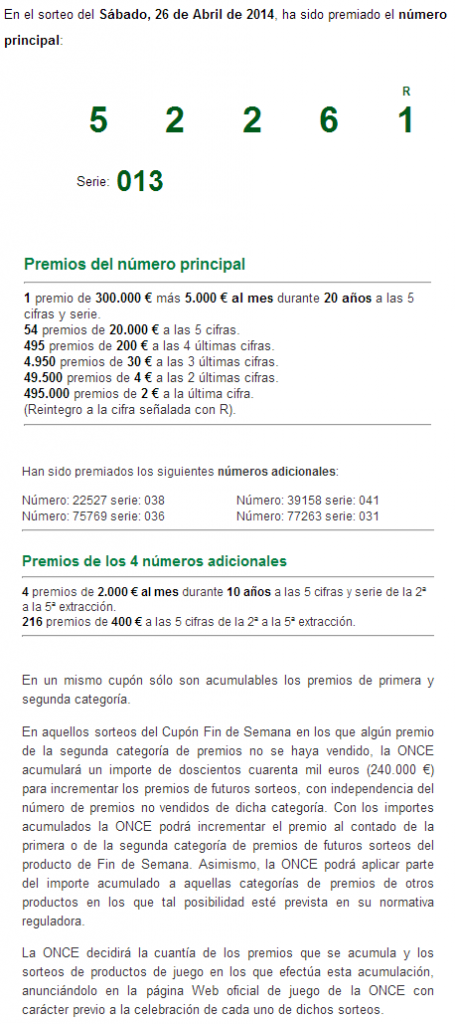 Juegos ONCE  SORTEO ONCE 26 ABRIL 2014
