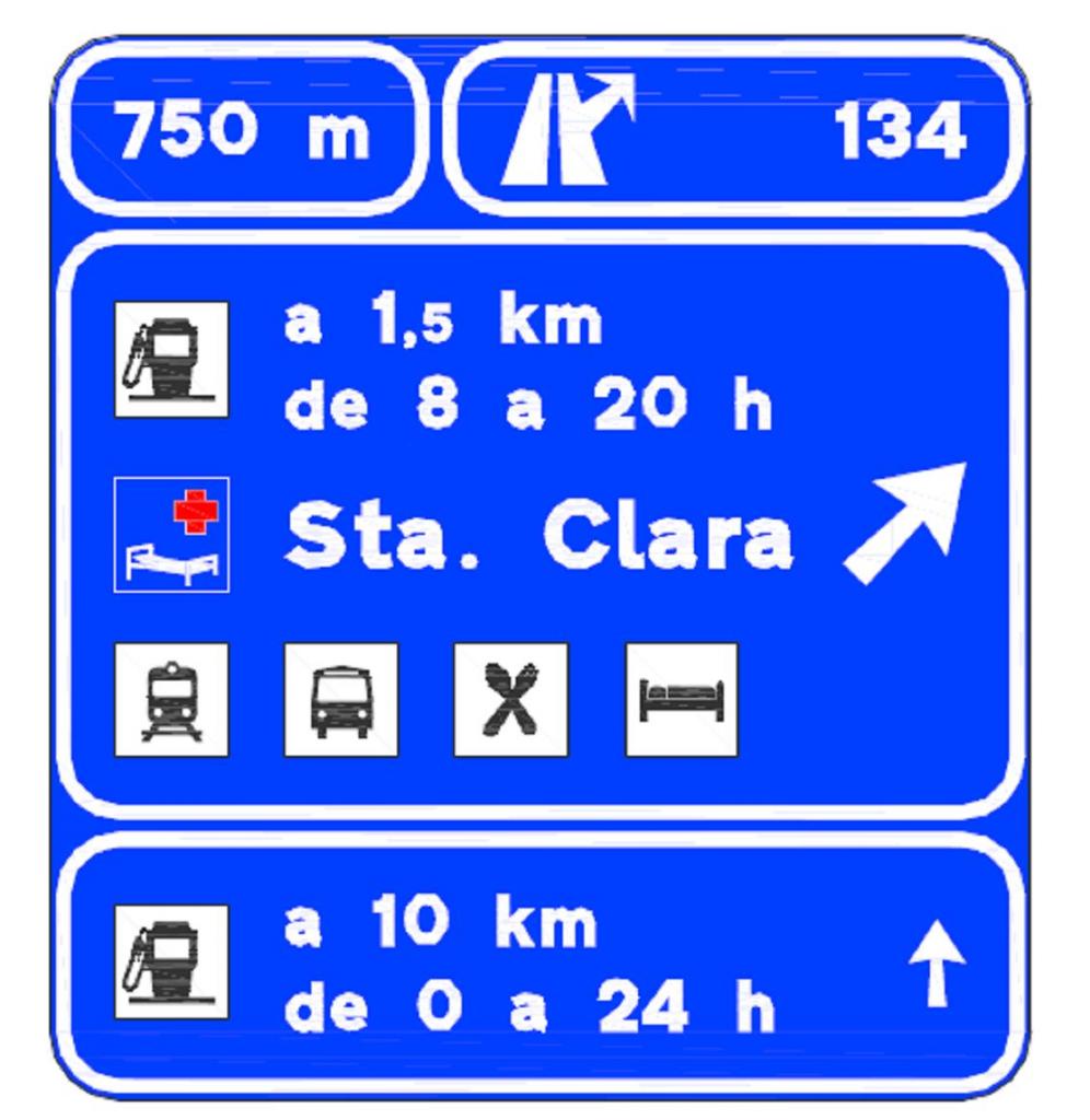 Nuevos carteles de salida hacia estaciones de servicio y otros servicios adyacentes a la carretera