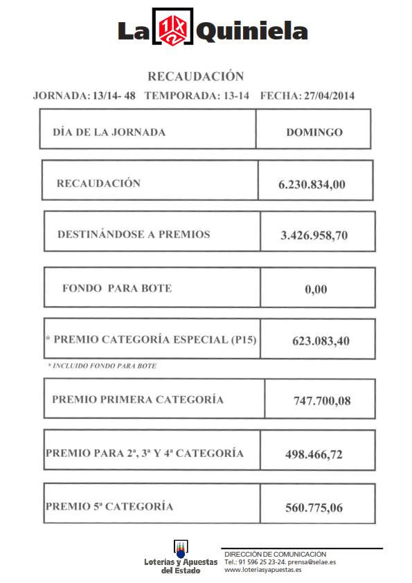 RECAUDACION DE LA QUINIELA 27_04_14_001