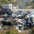 accidente entre 3 camiones en Lucena del Puerto