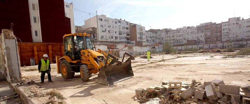 Inicio de las obras de construcción del colegio público de la calle Puerto Rico.