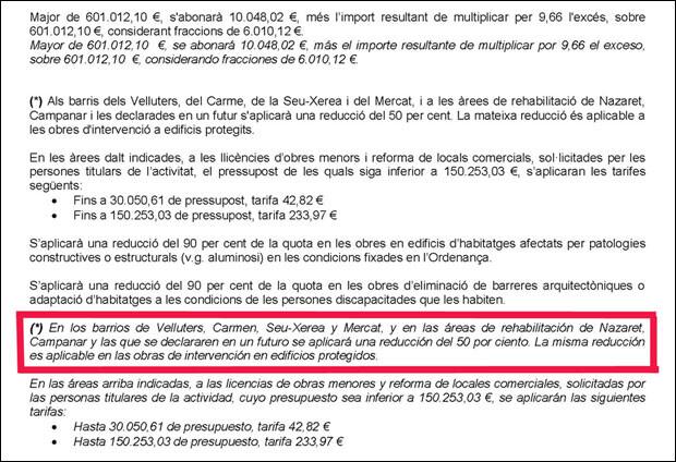 Enmarcado en rojo, la cláusula del impreso que no incluye, tal y como debería, al barrio del Marítim como beneficiario de la deducción del 50% en el pago de la tasa municipal.
