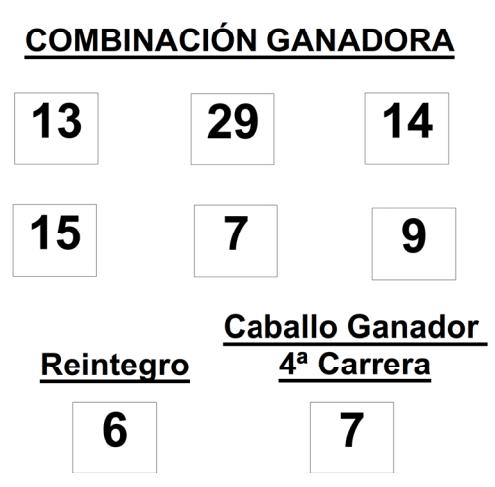 COMBINACIÓN GANADORA DEL SORTEO DE LOTOTURF DE FECHA 9 05 2014