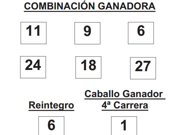 COMBINACIÓN GANADORA DEL SORTEO DE LOTUTURF DE FECHA 18 -05-2014