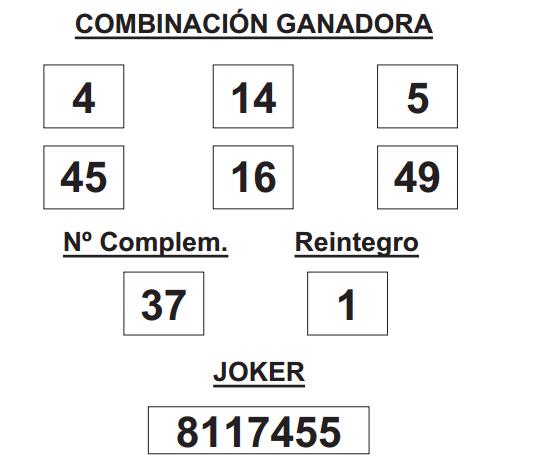 COMBINACION_GANADORA_LOTERIA_PRIMITIVA_DEL_SABADO _3_05_14