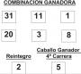 Combinación ganadora de la apuesta Hípica Lototurf de fecha 15-5-2014