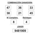 Combinación ganadora del Sorteo de la Lotería Primitiva del sábado de fecha 24-5-2014