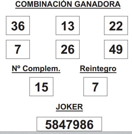 Combinación ganadora del sorteo de de la lotería primitiva del jueves del 22 de mayo de 2014