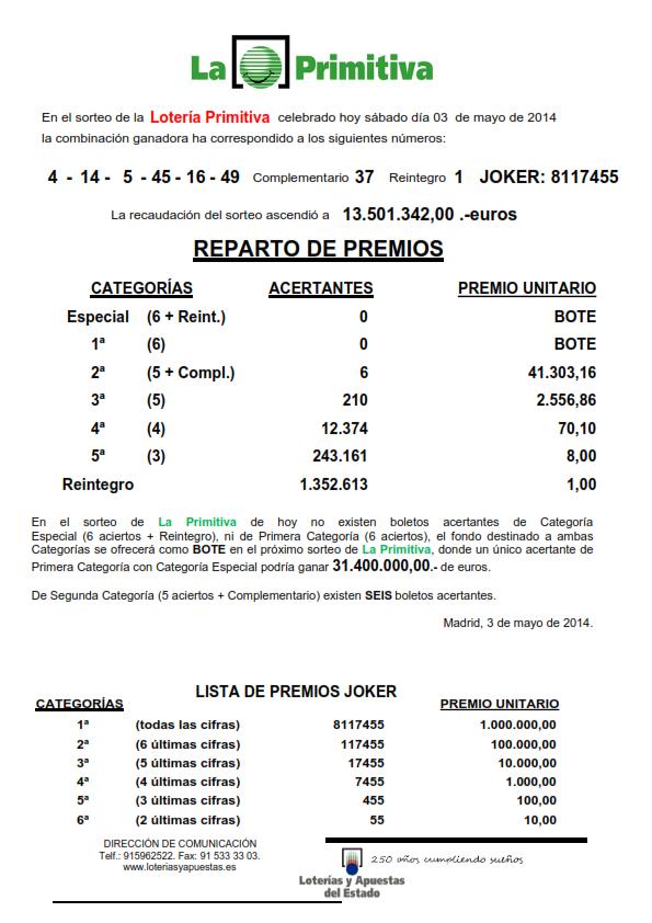 NOTA_DE_PRENSA_DE_LA_PRIMITIVA_DEL SABADO _3_05_14_001