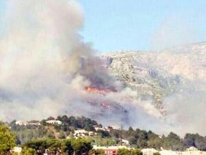 incendio forestal en el Parque del Montgó