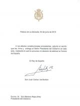 Carta de su Majestad el Rey Juan Carlos I al
