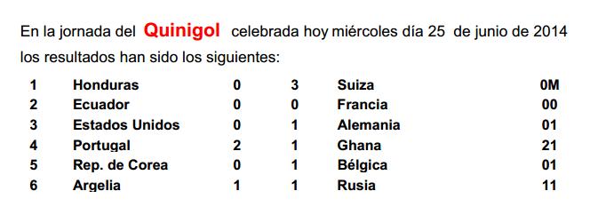 Quinigol celebrada hoy miércoles día 25 de junio de 2014