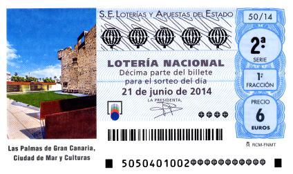 Sorteo de Lotería Nacional del sábado  21 de junio de 2014 las Palmas de Gran Canaria