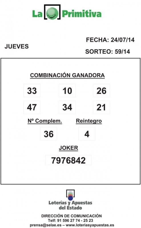 COMBINACION_GANADORA_LOTERIA_PRIMITIVA_DEL_JUEVES_24_07_14