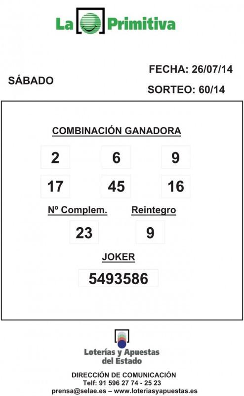 COMBINACION_GANADORA_LOTERIA_PRIMITIVA_DEL_SABADO-_26_07_14