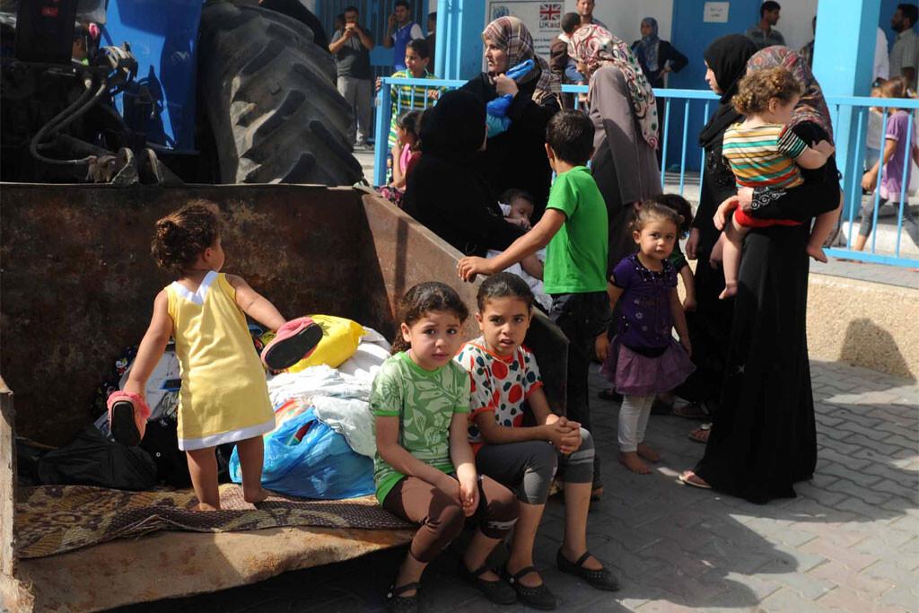 Familias palestinas refugiadas en un centro de la UNRWA en Gaza Foto: Shareef Sarhan/UNRWA