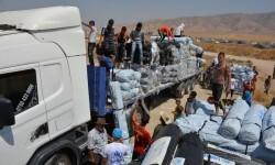 Descarga de ayuda humanitaria para desplazados en Iraq Foto: ACNUR//E.Colt