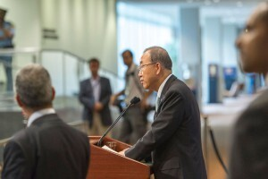 El Secretario General de la ONU, Ban Ki.moon, durante una conferencia de prensa Foto: Mark Garten