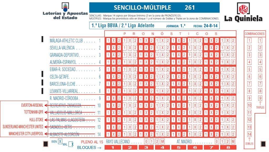 BOLETO MODIFICADO 1ª JORNADA QUINIELA 2014-2015