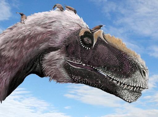 Reconstrucción de un grupo de pájaros (Longirostravis) acicalándose sobre la cabeza de uno de sus dinosaurios parientes (Yutyrannus). / Science-Brian Choo