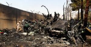 Restos del avión de Taban Airlines en Irán. Foto: AP