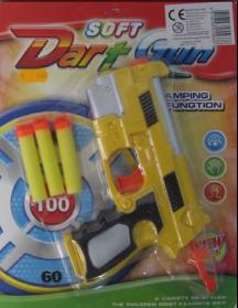 juguete con proyectiles soft dart gun, marca FUNNYCLOWN