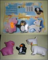juguete de vinilo amiguitos en tu baño, marca BOYSTOYS, modelo perro-pingüino- hipopótamo