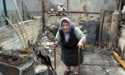 Residente de un barrio en Sloviansk afectada por las hostilidades en el este de Ucrania Foto: ACNUR/ Iva Zimova
