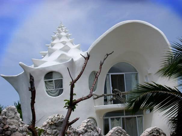 Conch-Shell-House,-Isla-Mujeres,-México